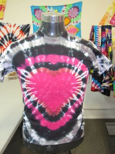Adult Small Tie Dye Pink Heart with Black and Gray by AlbanyTieDye, $20.00