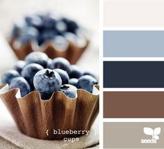 "Edible - ""blueberry cups"".  Fabulous color palette!  I don't think I'd ever get tired of colonial blue and brown.  Have to have enough brown for the punch.  This is in our family room, want it in bedroom, with different strengths of hues."