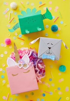 Kids gift wrap ideas: Turn a wrapped present into a dinosaur, dog, or unicorn with our free printable downloads and a few craft supplies.