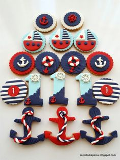 Butik Pasta Kurabiye Makaron: Denizci Pastası – Fashion and Street Styles on Internet Nautical Birthday Cakes, Nautical Cake, Nautical Party, Baby Birthday, Birthday Parties, Sailor Birthday, Fondant Cookies, Fondant Toppers, Cupcakes