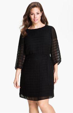 Calvin Klein Belted Pintuck Chiffon Dress (Plus)