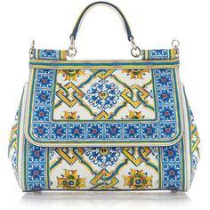 Dolce & Gabbana Maiolica Tile Top Handle Bag ($2,495) ❤ liked on Polyvore featuring bags, handbags, handle bag, embroidered purses, long strap purse, dolce gabbana handbag and handle handbags