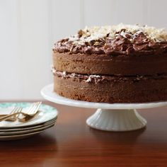 German Chocolate Cake | Sam German created the mild, dark baking chocolate called Baker\u2019s German's Sweet Chocolate in 1852; in the late 1950s, a Dallas newspaper published a recipe for German\u2019s Chocolate Cake. The dessert took the South by storm and has been a staple ever since. #cakewithcream #sweet