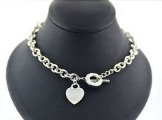 Classic Tiffany & Co sterling silver heart charm necklace