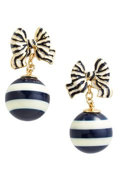 Free shipping and returns on kate spade new york 'out of the loop' bow drop earrings at Nordstrom.com. Just like ribbon-striped hard candy, these dainty drop earrings are sweet and playful with blue-and-white baubles and enamel-filled bow studs.