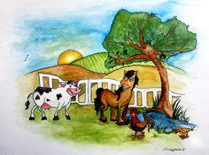 Animal Farm. Watercolour on Card