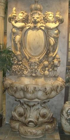 Accent your home with an incredible Crowned Lion Wall Fountain, Antique White Marble. Explore more at Carved Stone Creations. Stone Fountains, Garden Fountains, Wall Fountains, Marble Wall, White Marble, Diy Furniture Appliques, Indoor Water Features, Powder Room Design, Carving Designs