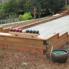 Photo of Diavolino Hardscapes - San Jose, CA, United States. Bocce Ball Court by Diavolino Hardscapes Backyard Games, Backyard Projects, Outdoor Projects, Backyard Landscaping, Backyard Ideas, Landscaping Ideas, Backyard Sports, Backyard Decorations, Wood Projects