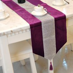 Luxury velvet Purple diamond beaded table runner with tapestry