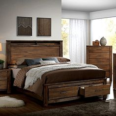 Furniture of America Nangetti Rustic 2 Piece Queen Bedroom Set in Oak Finish: Oak Materials: Solid Wood and Wood Veneers Set includes 1 bed and 1 nightstand Storage platform bed with two drawers Antique handle pulls Wood Bedroom Sets, Furniture Sets, Furniture Of America, Bedroom Design, Bedroom Furniture Sets, Furniture, Home Decor, Pallet Patio Furniture, Rustic Bedroom Furniture