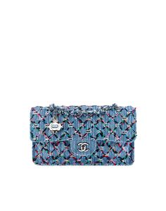 Flap bag, woven denim & silver-tone metal-blue & multicolor - CHANEL
