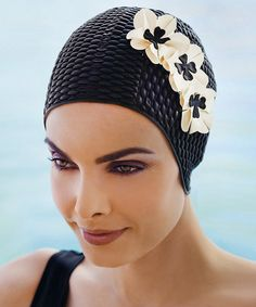 Enthusiastic Blue Reef Latex Rose Ladies Vintage 3d Raised Retro Swimming Hat With Chin Strap Sporting Goods