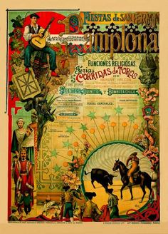 Spain Pamplona Bullrunning 1903 Travel Poster  by BloominLuvly, $9.95