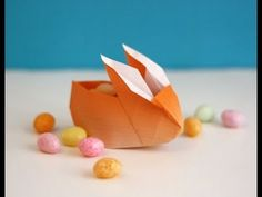 Origami tutorial and video instruction on how to fold an Origami Bunny Box --Tutorial Revisited! • Video tutorial: A new version of a rabbit origami box. • F...