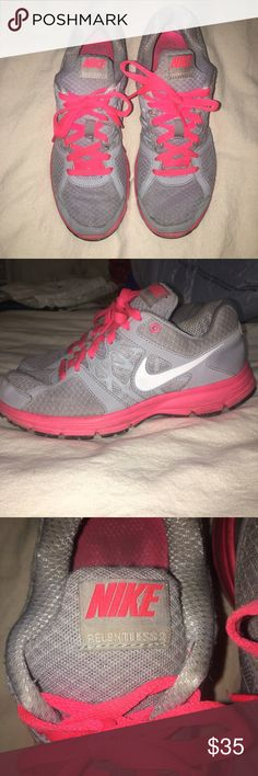 Nike Gray Relentless Tennis Shoes Gray and pink Nike Relentless tennis shoes. Great condition. Nike Shoes Athletic Shoes