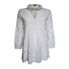 Pin-Tuck Tunic Long sleeves white tunic in embroidery stiched cotton fabric with standing collar and slit. Front with pin-tuck workmanship and hem with heavy embroidery. 100% Cotton Availability: In stock €65.00