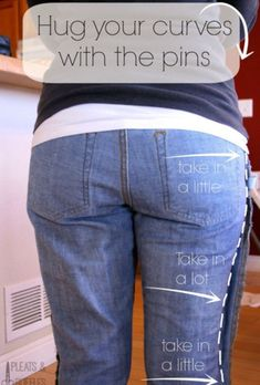 This article will discuss the ways of sewing darts in jeans. Most you must have some jeans, don't you? But, you sometimes cannot get or match the best jeans pair to wear. Maybe, the waist of your lovely jeans does not fit you in which. Altering Jeans, Altering Clothes, Sewing Hacks, Sewing Tutorials, Sewing Patterns, Sewing Tips, Sewing Lessons, Knitting Patterns, Sewing Jeans