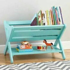 paint a folding dish rack and turn it into book storage (*for a mini book nook*)