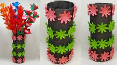 Easy Making Paper Flower Vase | How to Make Paper Flower Vase | Abigail Paper Crafts Paper Flower Vase, Paper Flowers Craft, Flower Crafts, Diy Flowers, Flower Vases, Green Paper, Black Paper, Paper Craft Work, Paper Crafts