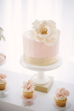 soft pink and gold flowers + cake