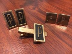 P monogram cuff link&tie bar clip #dress set #swank/foster #letter gift dapper su,  View more on the LINK: http://www.zeppy.io/product/gb/2/182032214968/
