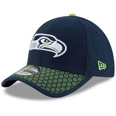 New Era Seattle Seahawks Sideline 39THIRTY Cap ($34) ❤ liked on Polyvore featuring men's fashion, men's accessories, men's hats and mens caps and hats