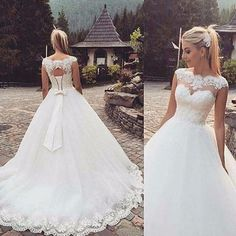 White/ivory Wedding Dress Bridal Gown Custom Size 4 6 8 10 12 14 16 18 for sale online Wedding Bows, Dream Wedding Dresses, Bridal Dresses, Ivory Wedding, Wedding Ideas, Wedding Veil, Wedding Favors, Plus Size Wedding, Wedding Attire