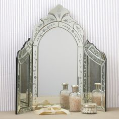 $299. Elegant tri-fold mirror for your dressing table. Beautiful details. Click below to buy on Etsy...  www.etsy.com/listing/187518825/vintage-style-venetian-mirror-tri-fold