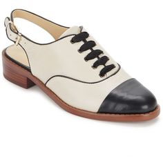 Sam Edelman Damian Leather Cap Toe Oxford Slingback ($70) ❤ liked on Polyvore featuring shoes, lace up oxfords, cap toe shoes, lace up oxford shoes, black and white shoes and cap-toe oxford
