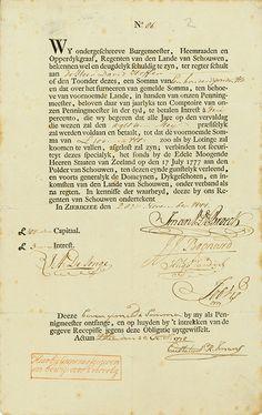Waterschap SCHOUWEN Zierkizee, 20.11.1777, 3 % Obligation über £ 100 = 600 Gulden, #86, 32,4 x 20,3 cm, schwarz, beige, DB, Knickfalten, Talon, nicht entwertet. Auf das Papier werden noch heute Zinsen gezahlt!