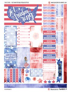 Free Printable Stars and Stripes Planner Stickers {page one} from Organized Potato