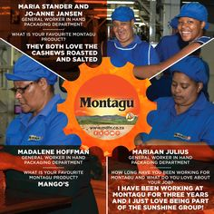 Meet Maria, Jo-Anne, Madalene and Mariaan - the awesome ladies who head up our hand-packaging department! Nutritious Snacks, Yummy Snacks, General Worker, Roasted Cashews, What Goes On, Behind The Scenes, Packaging, Meet, Awesome