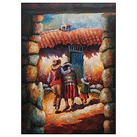 'Home Front' - Original Painting Andean Scene Signed Peru Mexican Artists, Mexican Folk Art, Hispanic Art, Peruvian Art, Custom Gift Boxes, Southwest Art, Antique Photos, American Art, Art Forms