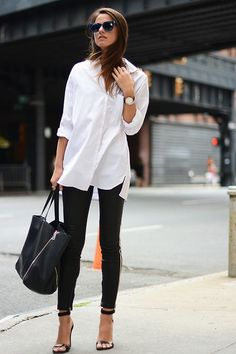 Shop this look on Lookastic:  http://lookastic.com/women/looks/sunglasses-dress-shirt-skinny-pants-tote-bag-heeled-sandals/8564  — Navy Sunglasses  — White Dress Shirt  — Black Skinny Pants  — Black Leather Tote Bag  — Black Leather Heeled Sandals