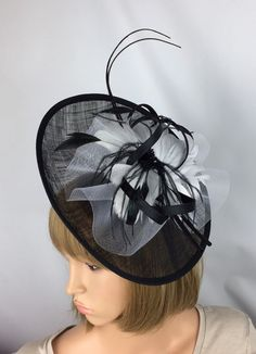 46d6f6b9d5485 Black and white Fascinator Wedding Mother of the Bride Hatinator Ladies Day  Ascot Races Occasion Hat Event