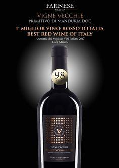 """La pioggia di premi non si arresta!!! Il nostro """"VIGNE VECCHIE"""" PRIMITIVO DI MANDURIA DOC é il MIGLIORE ROSSO D'ITALIA del 2017 secondo Luca Maroni, con ben 98 PUNTI! - It's still raining awards!!! Rated 89 POINTS our """"VIGNE VECCHIE"""" PRIMITIVO DI MANDURIA DOC is THE BEST RED WINE OF ITALY 2017 according to Luca Maroni!"""