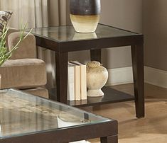 Homelegance 3299-04 Vincent End Table with Glass Top