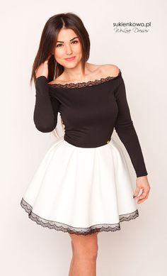 Sukienkowo.pl - Sukienka czarno biała bez ramion CARMEN