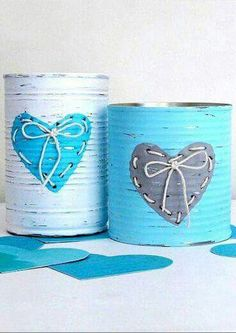 decorative tins made by napkin decoupage Tin Can Crafts, Jar Crafts, Bottle Crafts, Crafts To Make, Recycled Tin Cans, Recycled Crafts, Valentine Day Crafts, Valentines, Tin Can Art