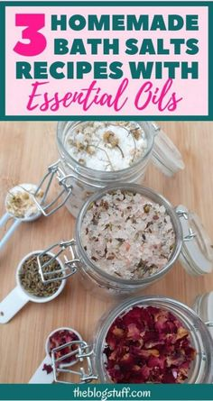 3 Easy homemade bath salts recipes with essential oils for a relaxing bathing experience. With lavender, dried rose petals and chamomile and lemon. Bath Bomb Recipes, No Salt Recipes, Diy Bath Salts With Essential Oils, Lavender Bath Salts, Diy Bath Salts Lavender, Diy All Natural Bath Salts, Diy Rose Petal Bath Salts, Homemade Scrub, Homemade Bath Salts