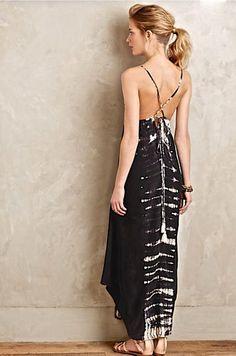 NWT $298 Anthropologie black silk halter Gypsy 05 Viha Tie Dye Maxi Dress L #Gypsy05 #VihaTieDyeMaxiDress #versatile
