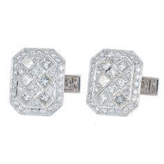 Round & Princess Cut Diamond Octagonal Cufflinks