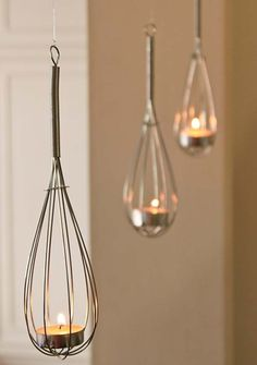 Transform whisks to some cute tealight holders | Top 24 Fascinating Hanging…