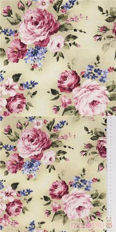 """beige green cotton fabric with retro purple, blue florals, Material: 100% cotton, Fabric Type: smooth cotton fabric, Pattern Repeat: ca. 30cm (11.8"""") #Cotton #Flower #Leaf #Plants #USAFabrics"""