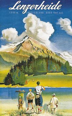 Vintage Travel Poster - Lenzerheide - Switzerland - by Pierre Monnerat - Retro Illustration, Illustrations, Winter Family Vacations, Swiss Travel, Best Ski Resorts, Ski Posters, Tourism Poster, Vintage Landscape, Journey