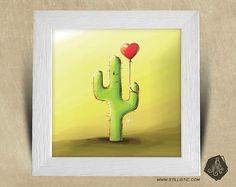 Cadre carré 25x25 avec Illustration Cactus et ballons pour