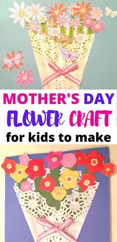 Make this very easy Mother's Day Paper Flower Craft! All you need is a doily, craft paper, glue, scissors and ribbon. In under 30 minutes you will have a homemade Mother's Day Card to give to any special mother, grandmother or aunt in your life! Mothers Day Decor, Mothers Day Crafts For Kids, Diy Mothers Day Gifts, Crafts For Kids To Make, Mothers Day Cards, Easy Mother's Day Crafts, Easy Paper Crafts, Kid Crafts, Craft Activities