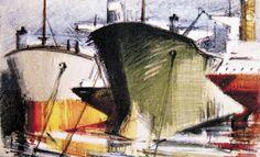 Paris Prekas - PLACERES GRIEGOS: ΤΑ ΤΑΝΚΕΡ ΤΟΥ ΠΑΡΙ ΠΡΕΚΑ Greek Art, Seascape Paintings, Artist Gallery, Sailing Ships, Contemporary Art, Landscape, Boats, Inspiration, Artists