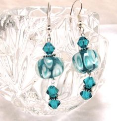 Lampwork Glass and Swarovski Crystal Earrings by EledesignbyLauren, $14.50