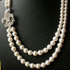 Fleur De Lis Pearl Necklace, FLEUR DE LIS. $89.00, via Etsy.